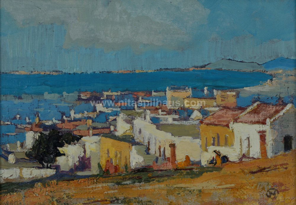 View of the bay with houses in foreground, Oil, 23 x 32 Collector 21