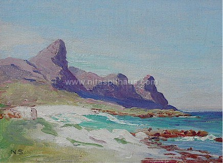 Seascape Falsebay Oil on canvasboard 19.5 x 24.5 Collector 34