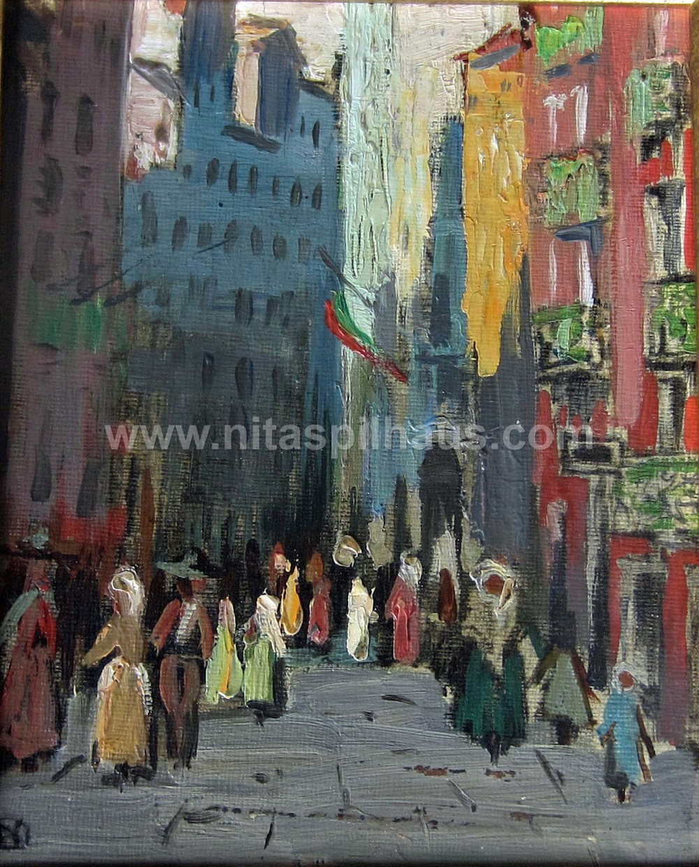 Lisbon Street, Oil, 25 x 20 Collector 18
