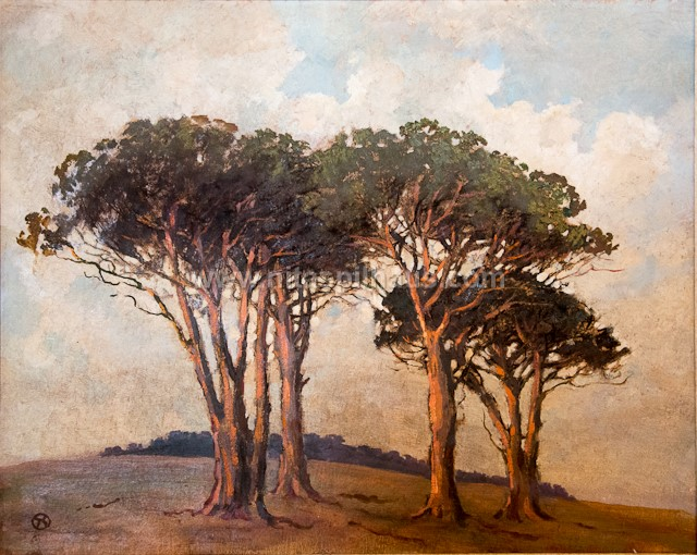 Trees in a landscape, 1948, Oil on board, 59.5 x 75 cm, Collector 42