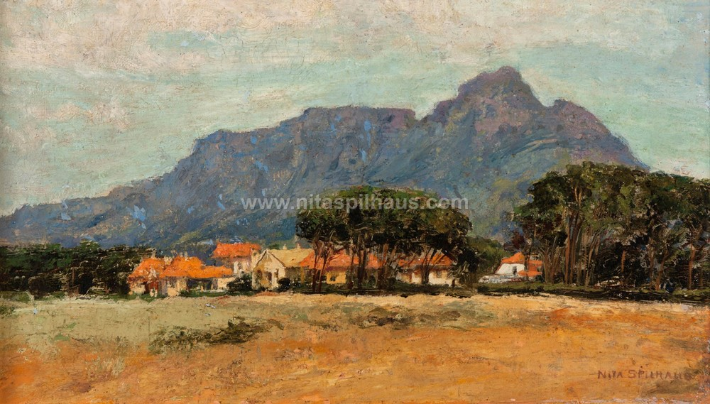 A view of Table Mountain from Rondebosch Oil on board 21 x 36 cm Collector 57