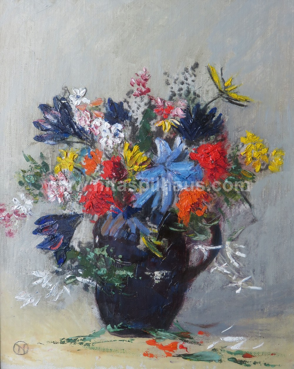 Flowers c 1955, Oil on Canvas, 29 x 24.2 cms Collector 53