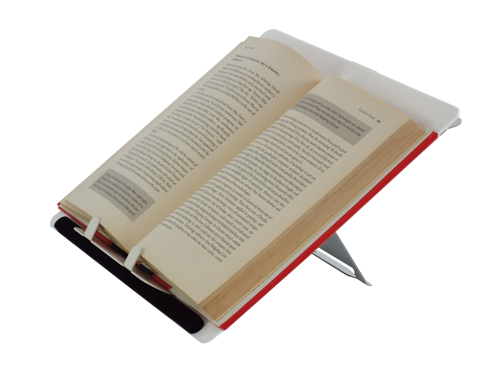 Add a book holder attachment to support books