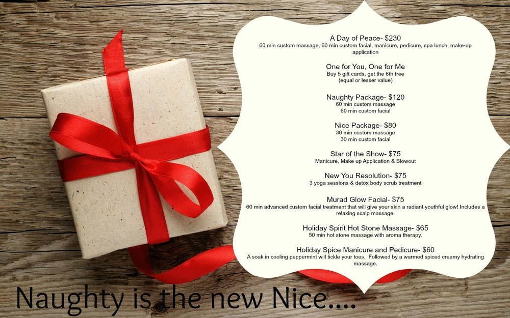 Naughty is the new nice holiday 2014 spa packages spa for Weekend girl getaways spa packages