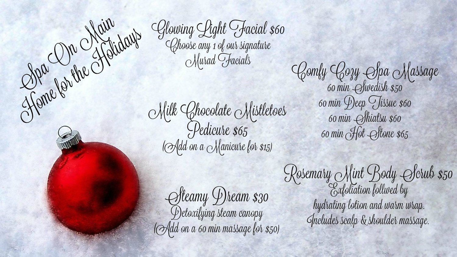 Christmas Spa Packages.Spa On Main S Christmas Specials Packages Spa On Main