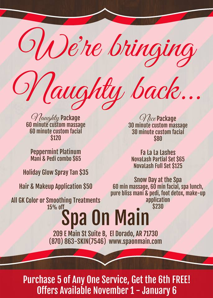 Christmas Facial.Naughty Or Nice Christmas Packages Spa On Main