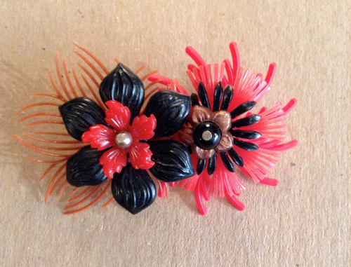 Plastic flower brooch red black pink one of a kind handmade pin no plastic flower brooch red black pink one of a kind handmade pin no103 mightylinksfo