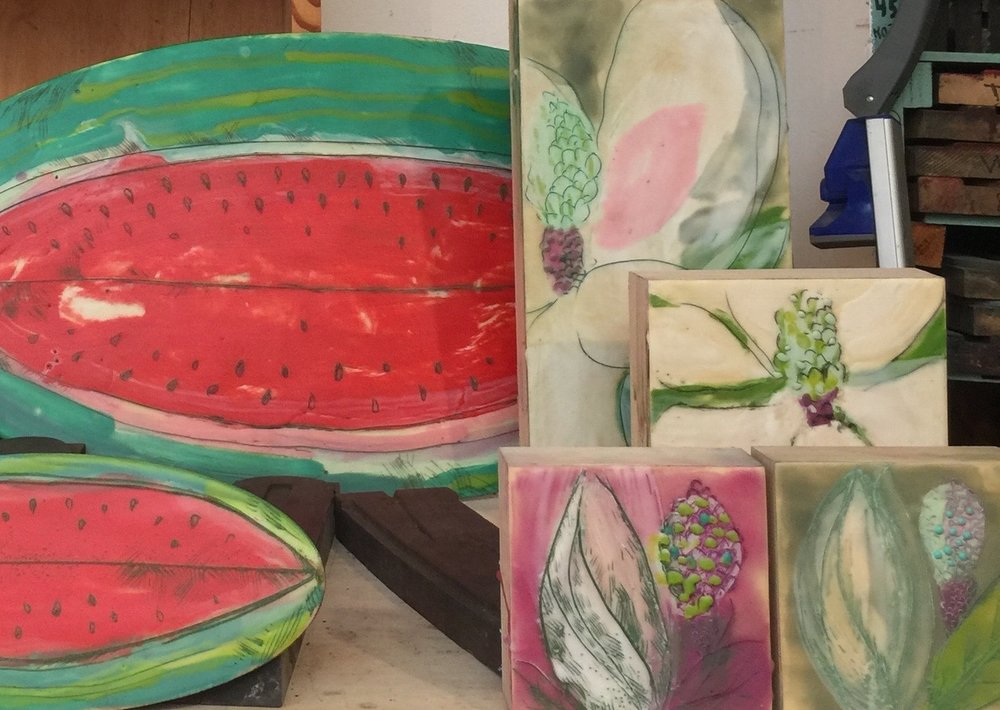 Watermelon and Magnolia collaboration by Peg Hambright & Julie Belcher - Works in Progress