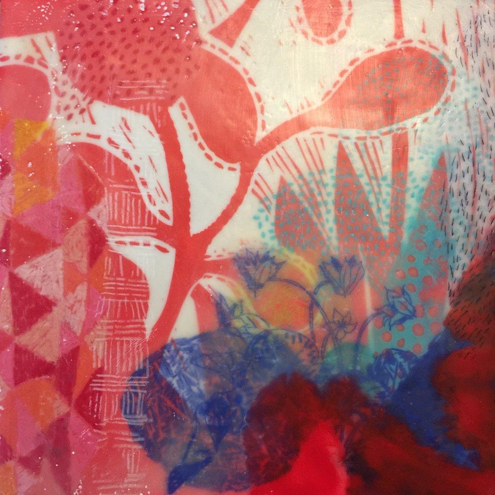 Clog . Mixed Media - Letterpress linocut, drawing, transfers, beeswax, damar resin