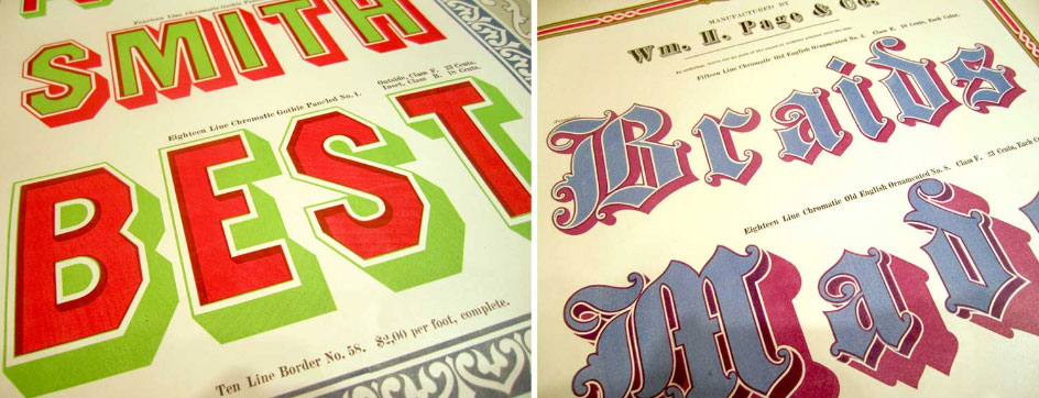 Chromatic typeface specimens from the 19th Century