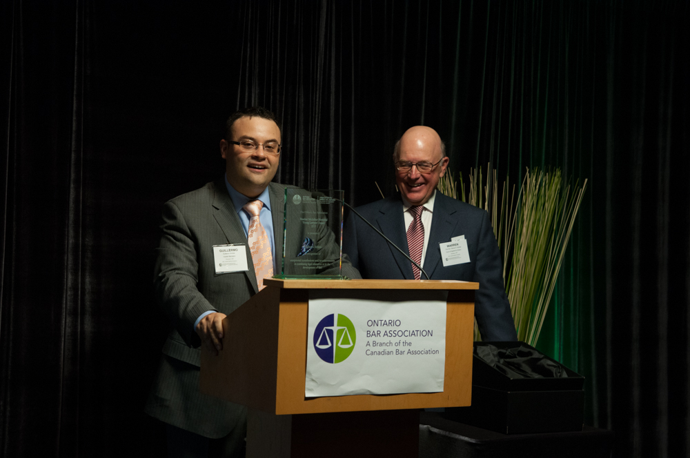 Guillermo Schible after receiving the 2013 OBA Heather McArthur Award on May 27, 2013 and being introduced by The Honourable Warren Winkler, C.J.O.