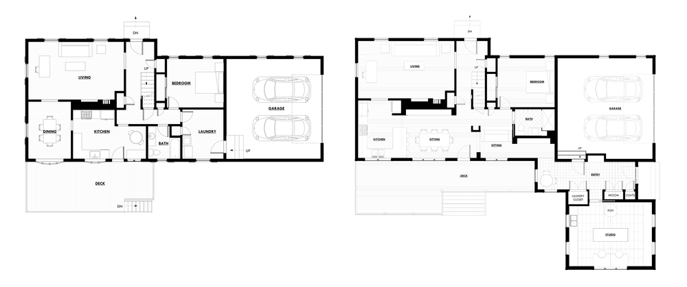 FLOOR PLANS: BEFORE + AFTER