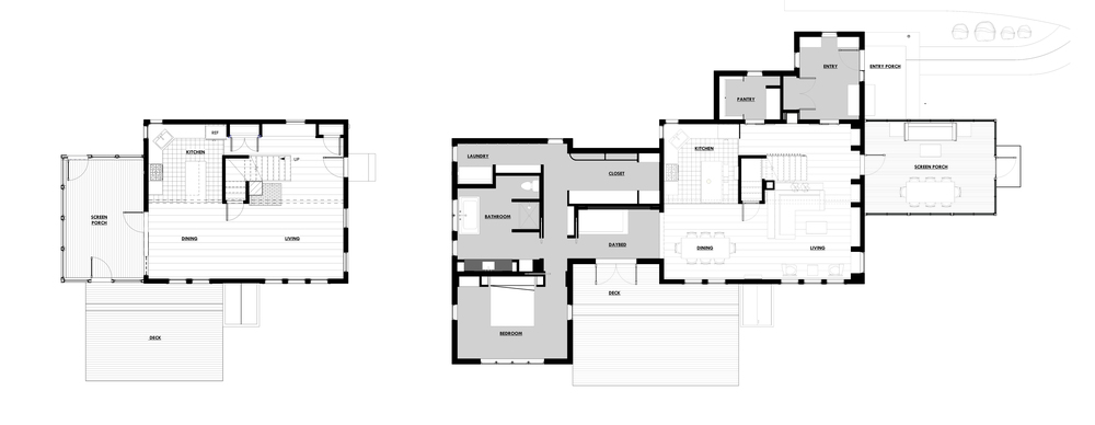 BEFORE + AFTER FLOOR PLANS
