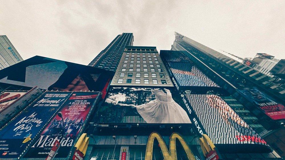 dancer on times square digital billboard