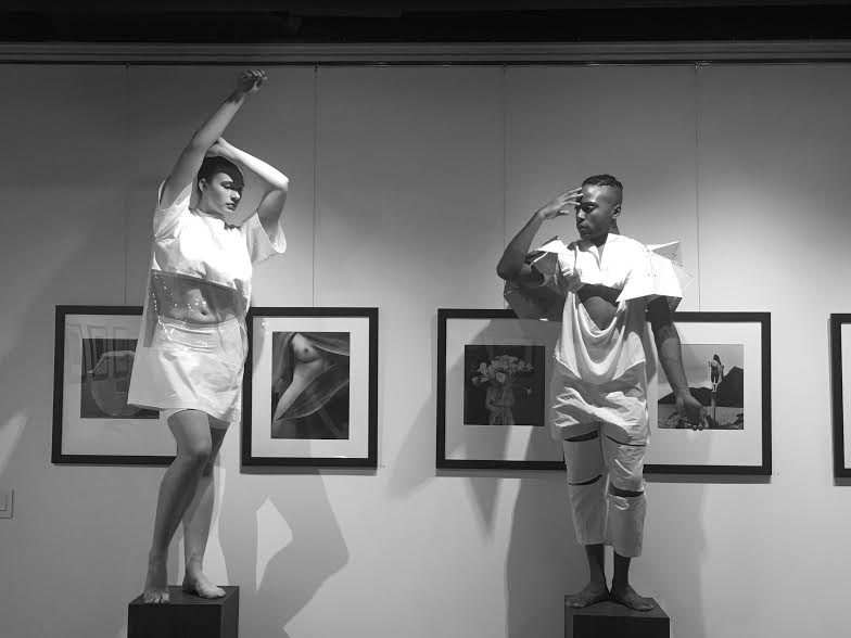Mini-installation of Heidi Latsky Dance Company at the Throkmorton Gallery Dec. 8, 2016. The framed photos are samples of the thank you gift mentioned above which are being offered for a donation of $350.00 or more.