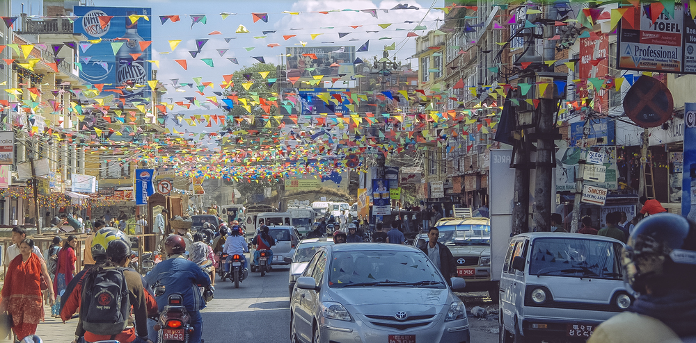 Average traffic day in the streets of Kathmandu