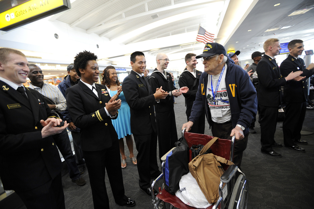 On Saturday, April 18 Chillicothe veteranPaul Thurman and other veteransweregreeted by a huge crowd after landing at Baltimore-Washington International Airport during the Honor Flight trip to Washington, D.C.
