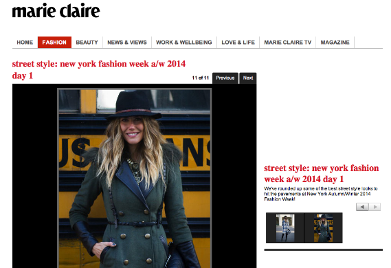 Marie Claire, NYFW February 2014