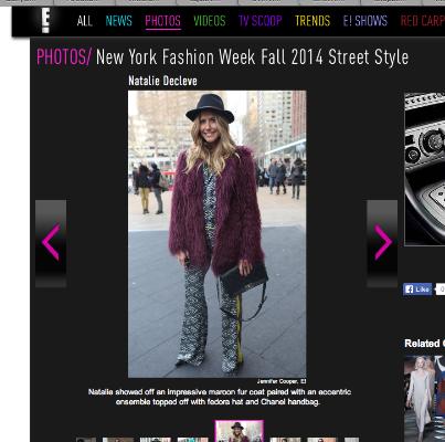E! on line, NYFW February 2014