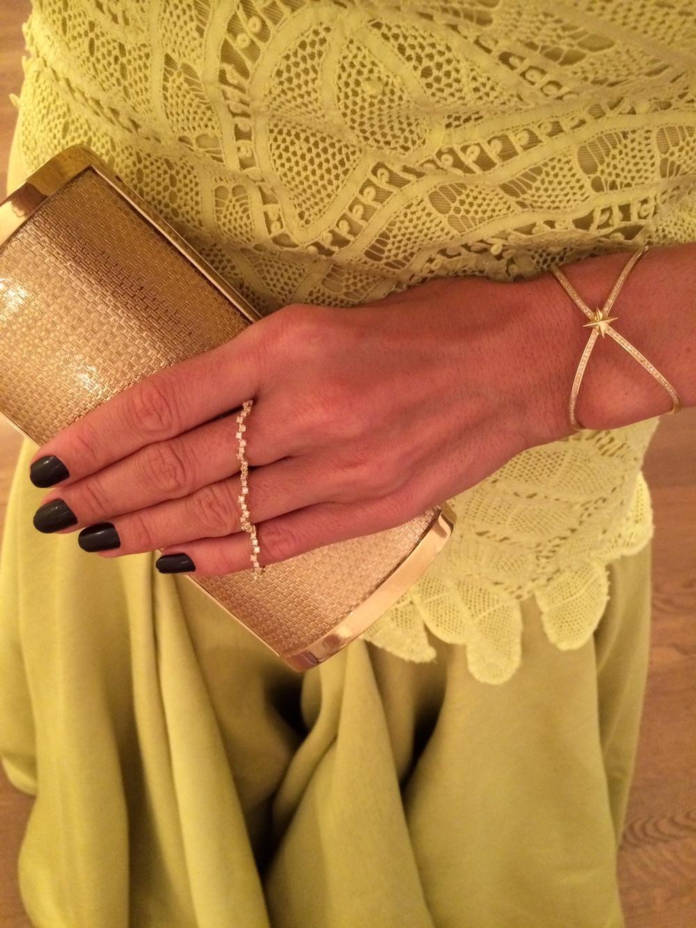 Gold jewels by  EPIPHANIE , bad  SALVATORE FERRAGAMO
