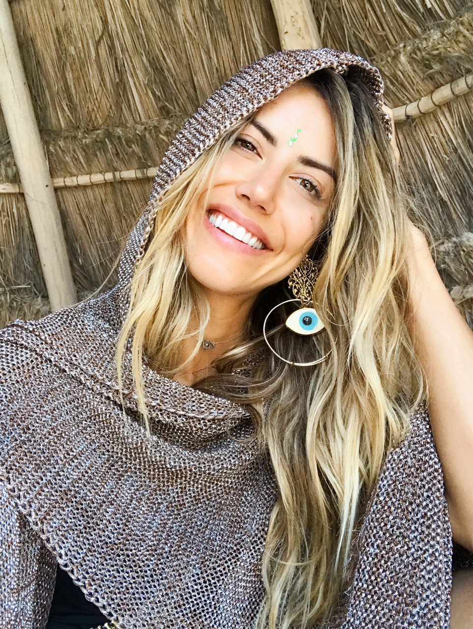 FREE PEOPLE  gold knit and  KATHERINE CORDERO  EARRINGS