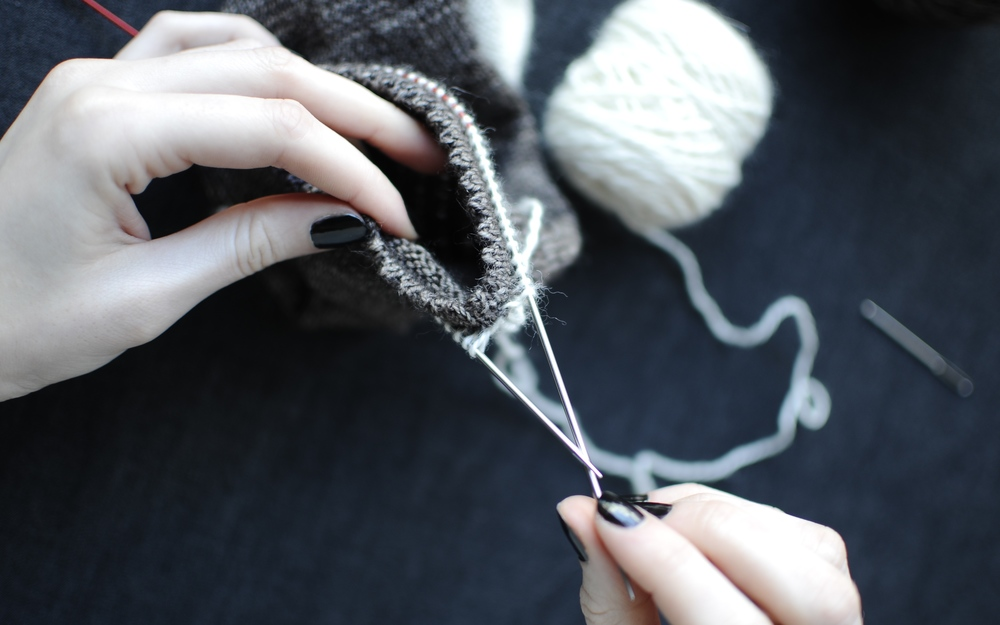 6. Once you've worked all the way around, there should be 64 (72) stitches on your needles.