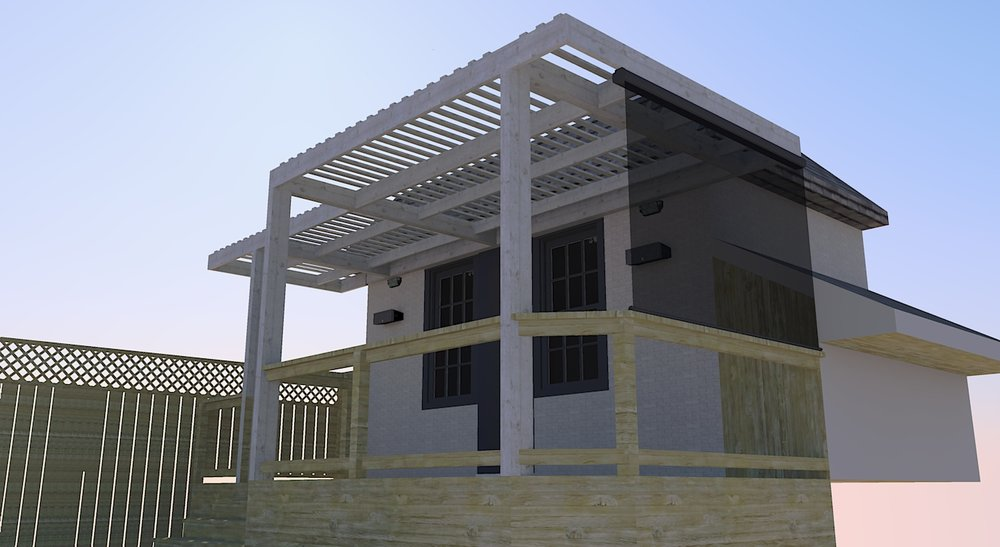 3D renderings were used to help determine the preferred arrangement for the pergola slats, and test out the addition of a pull-down screen.