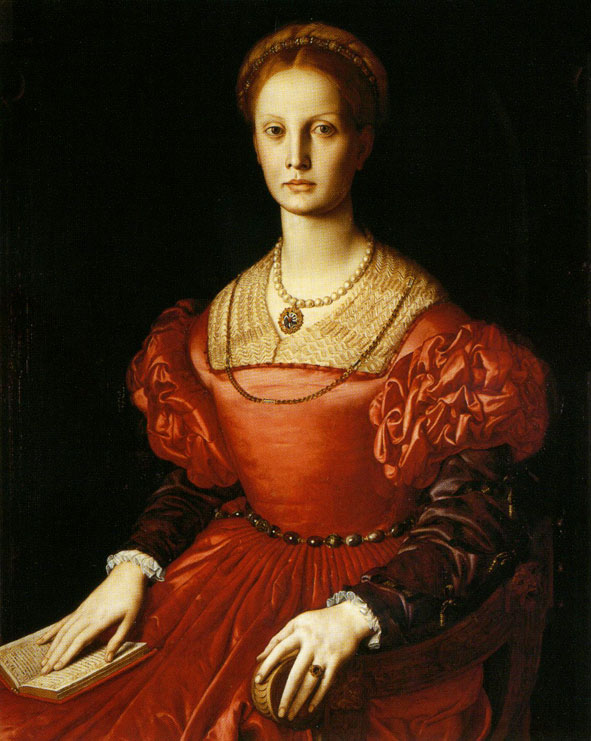 (Bronzino's portrait of Lucrezia Panciatichi, currently on display in the Uffizi Gallery. She bears more than a passing resemblance to mia madre.)