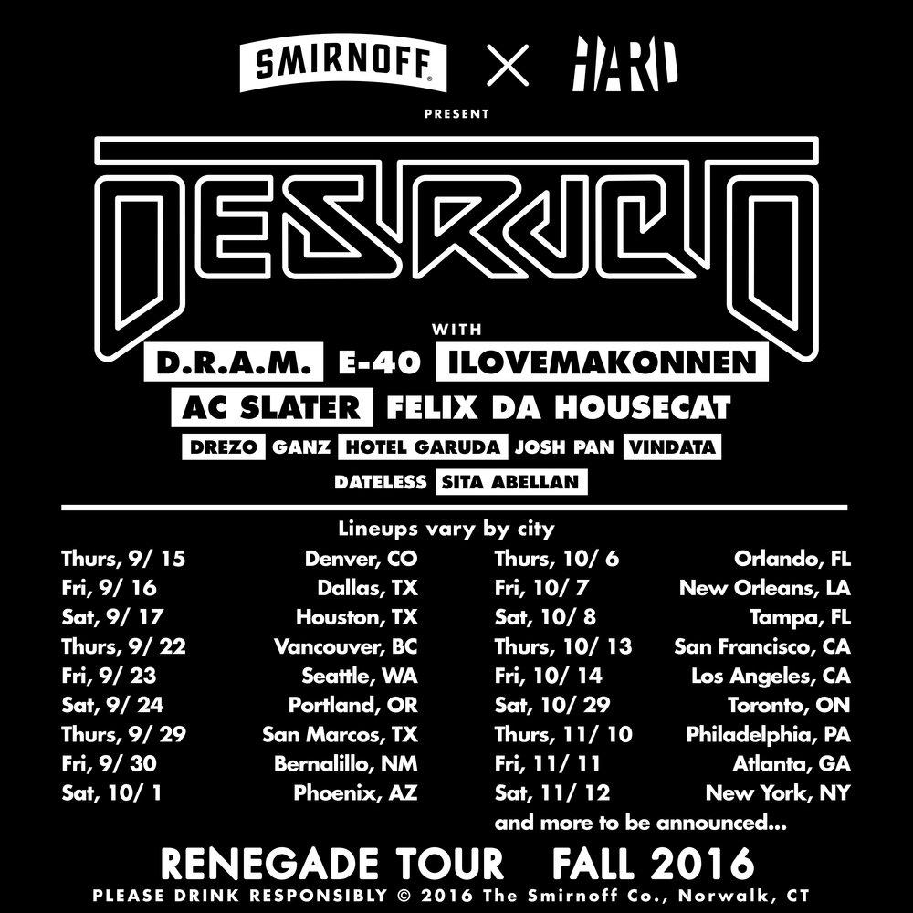 Tour Admat for DJ Destructo
