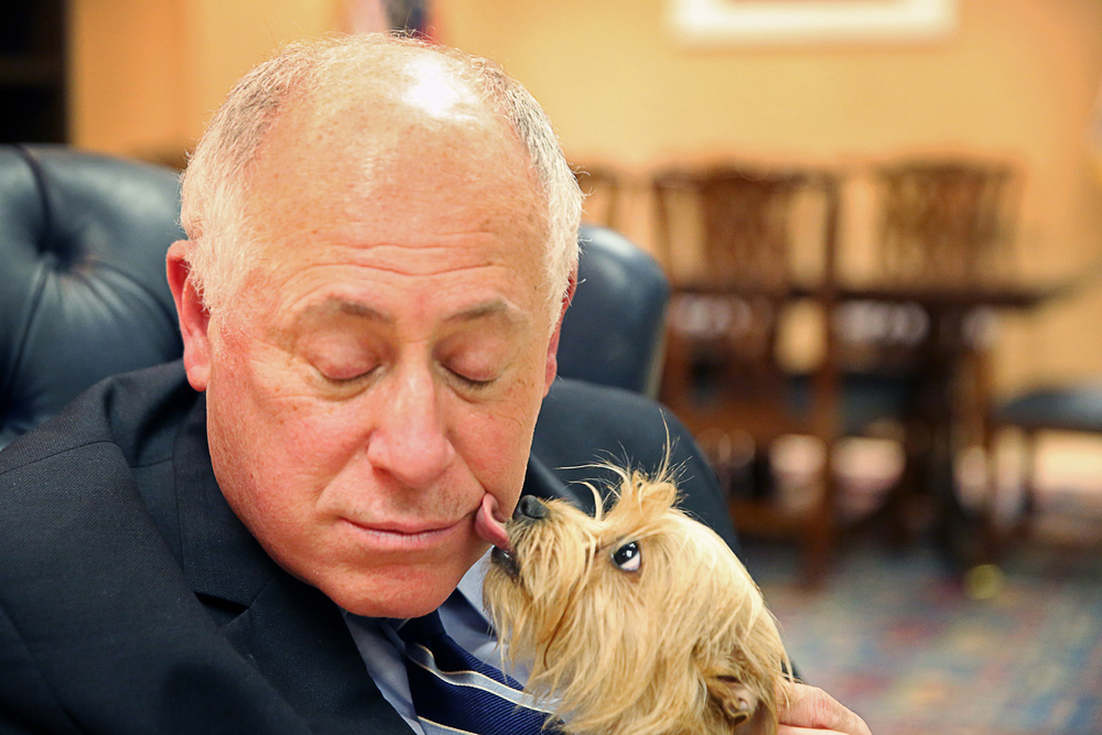 (Former) Governor Pat Quinn and his new dog Rosie on Friday, Jan. 10, 2014.