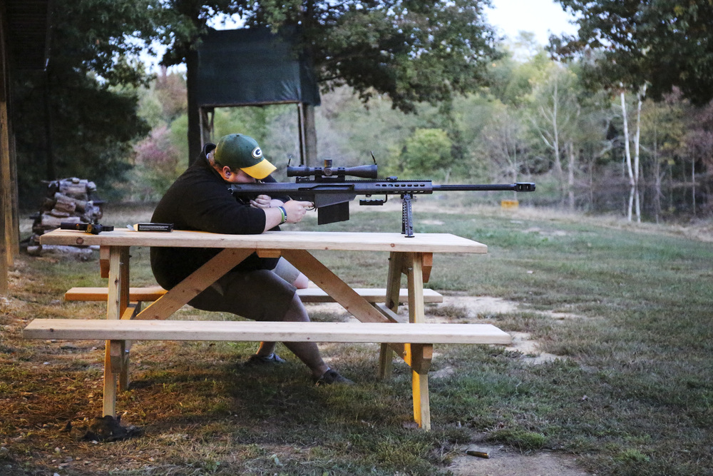 Cody Whittaker shoots a Barrett M82 sniper rifle. The family also owns nearby Rockhill Gun Range and frequently get together for target practice.