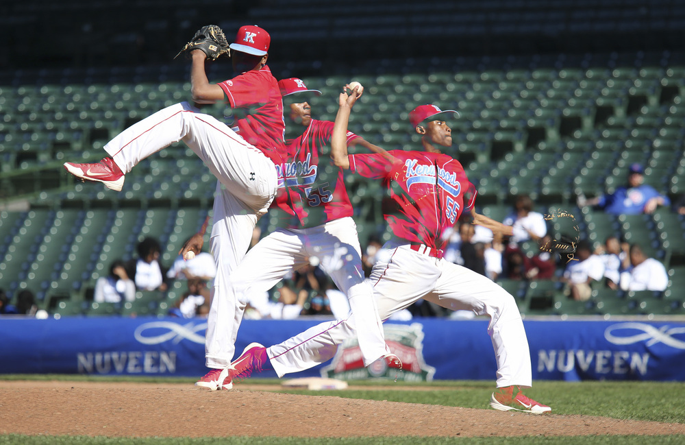 A multiple exposure of Kenwood pitcher D.J. Langston the 2014 Public League baseball semifinals.