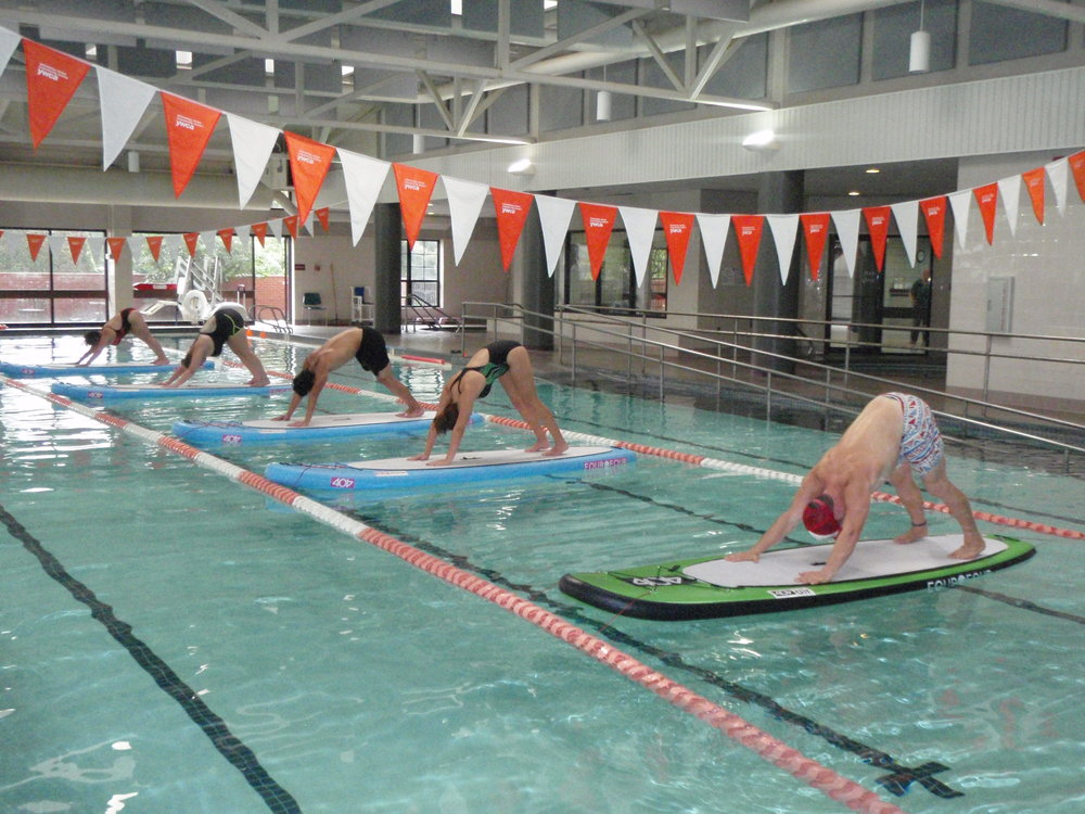 Classes will resume Fall 2017.  Continue SUP Yoga indoors for the fall and winter!  6 week series, Saturdays YWCA Pool  19th & Lewis
