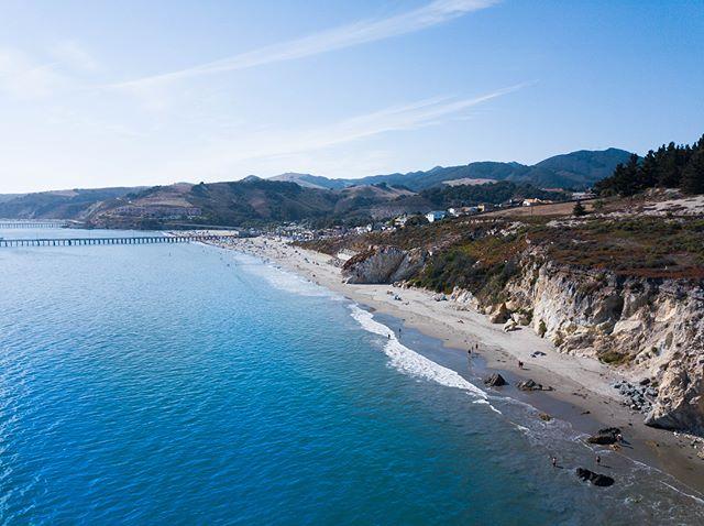 Tiny little town, giant blue ocean.