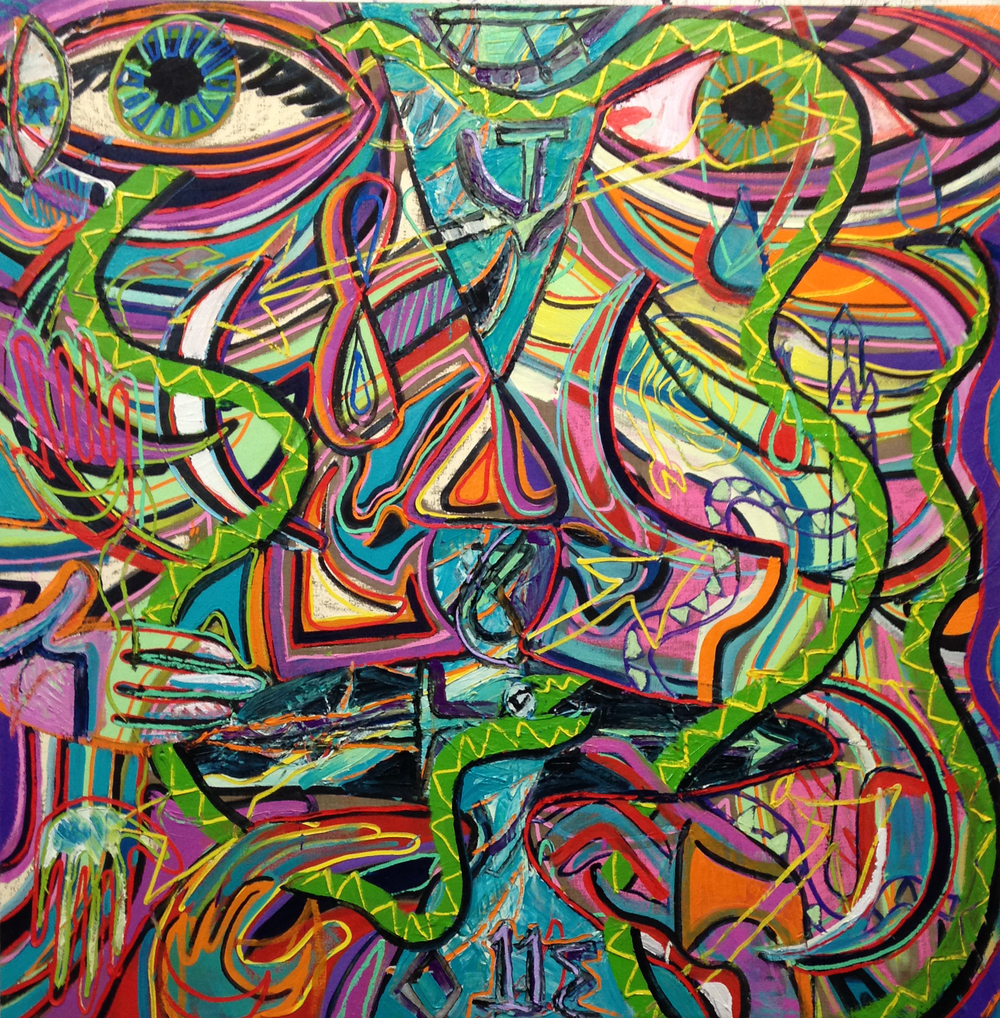 Birth of a Serpent, 2015, Oil on linen, 56 x 56 in.JPG