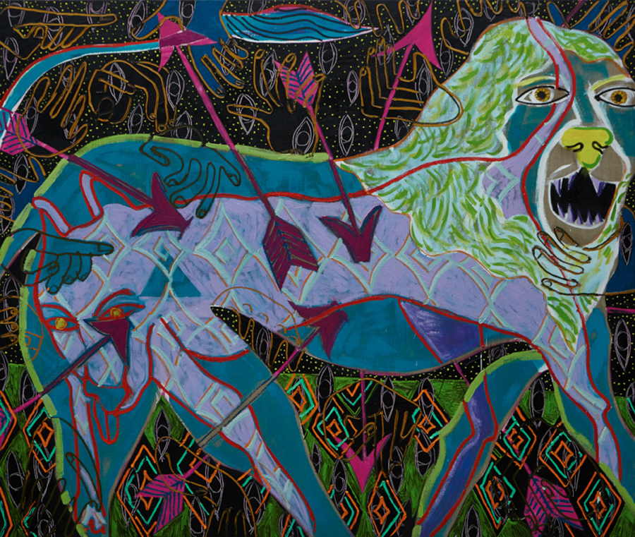 Striding Lion, 2014, Oil on linen, 62 x 72 in.JPG