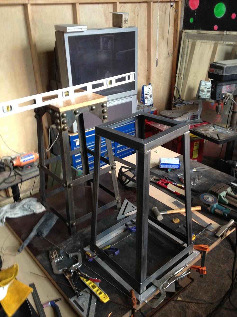 Studded Steel Bar Stool