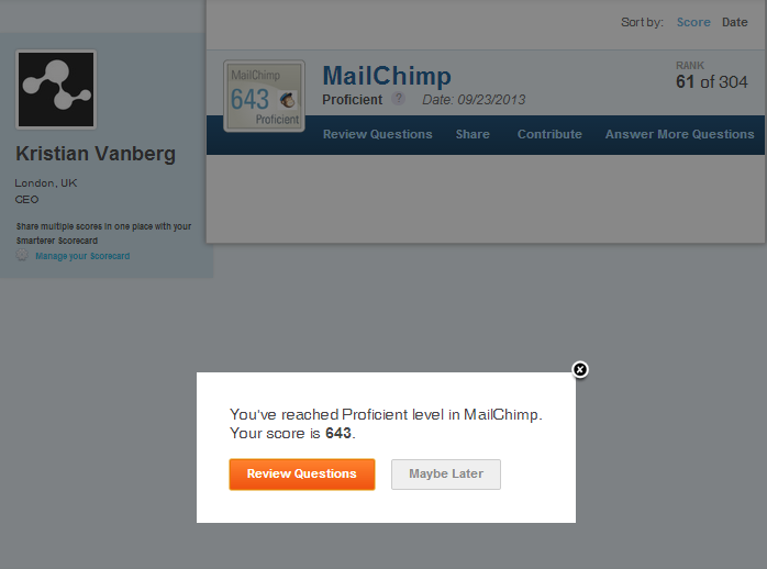 "Smarterer found me to be ""Proficient"" at using Mailchimp. Not accurate; I am the Yoda of Mailchimp!"