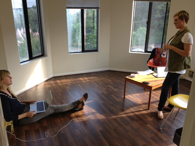 Day One in the new space--before the desks arrived & already putting the office to good use.