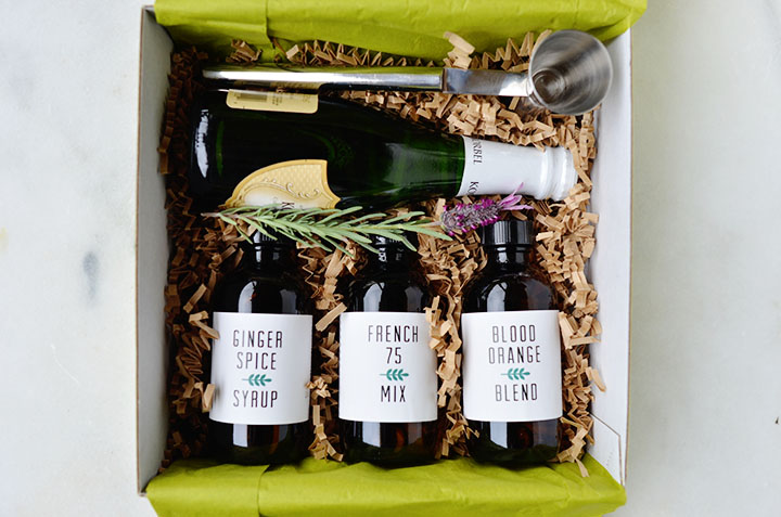 Champagne cocktail kit with Makr labels by A Golden Afternoon