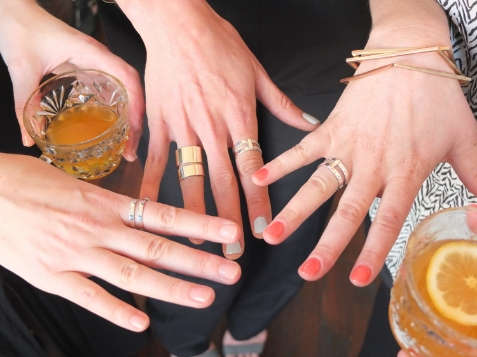 Wearing our beautiful Vrai & Oro rings and sipping on H by Hine custom cocktails: H by Hine VSOP, English Harbour Rum and Luxardo Apricot Liqeur. From left to right – Alexa, Apartment 34 Founder and CEO Erin, and Ryan.