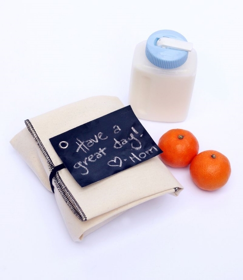 Inspired by milk as the perfect drink to accompany lunch, Small + Friendly shares an easy lunch wrap DIY. Image c/o Small + Friendly.