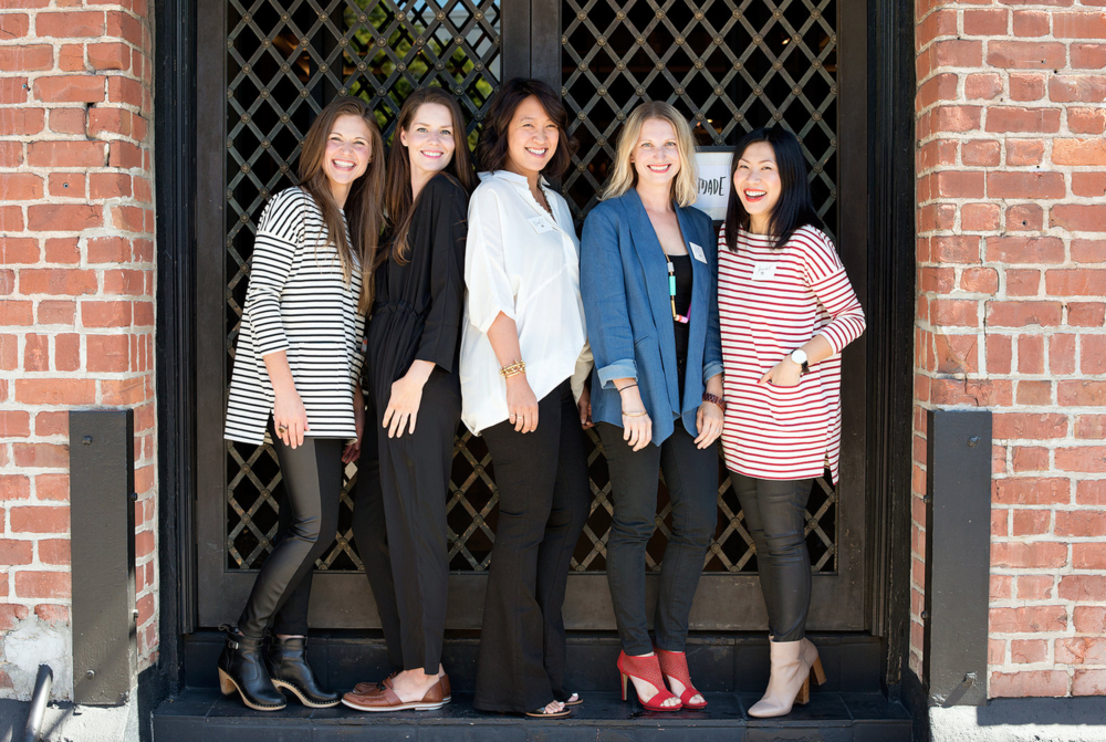 "Our lunchtime ""Ask Us Anything"" panelists and Lovemade hosts wearing Hatch Collection (from left to right): LoveMade Co-Founder, Janette Crawford; Panelist Katie Hintz-Zambrano; Panelist Erica Chan Coffman; Panelist Liz Stanley; LoveMade Co-Founder Jeanne Chan. Image c/o Modern Kids."