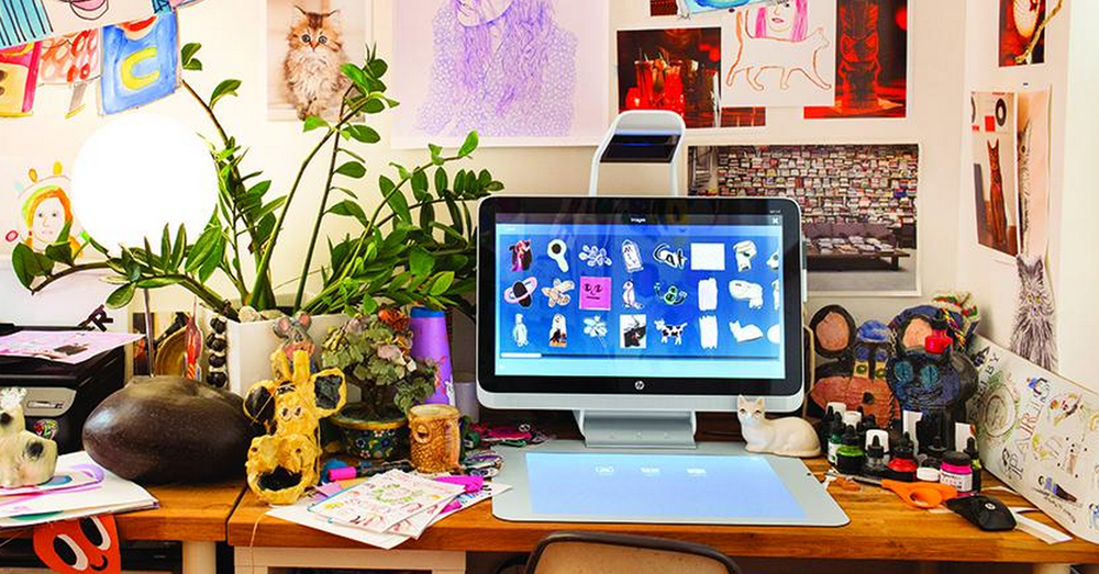 Photographer, director, author, and illustrator, Toddy Selby's creative studio featuring Sprout! Image c/o HP.