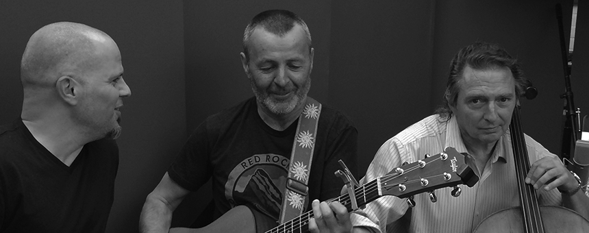 (c) composer, guitarist & singer Dinny Keg and (rt) cellist & bassist Geoffrey Bowater (Jon Secada, Gloria Estefan, Cristian Castro).