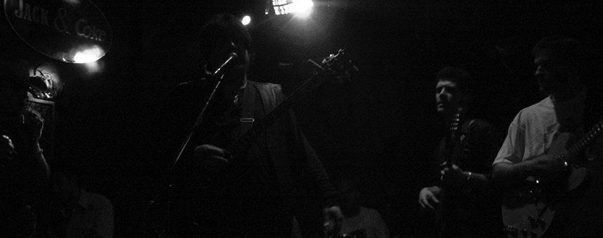 Somewhere in the darkness. . .an electric set with The Southbound Boogie Band at the old Hogs & Heffers Uptown, NYC.