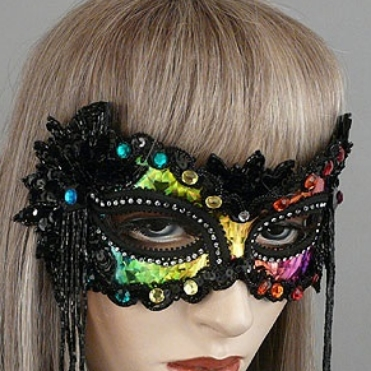 Midnight Rainbow Masquerade Mask Thumb