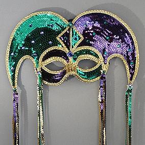 Sequin Jester Mardi Gras Masquerade Mask Thumb