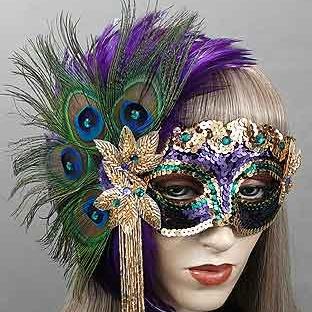 Bedazzled Mardi Gras Masquerade Mask Thumb