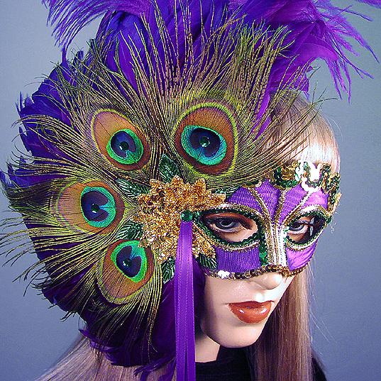 Peacock Lady Mardi Gras Masquerade Mask Thumb